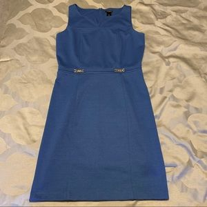 Ann Taylor Royal Blue Dress with Gold Accents